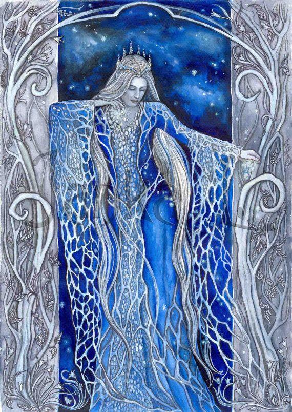 Original illustration - Varda the Star-Queen, Silmarillion inspired art,  signed art, fantasy