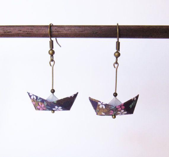 Barca origami //SOLDES-15% orecchini / / jewel di Coquetteenpapier
