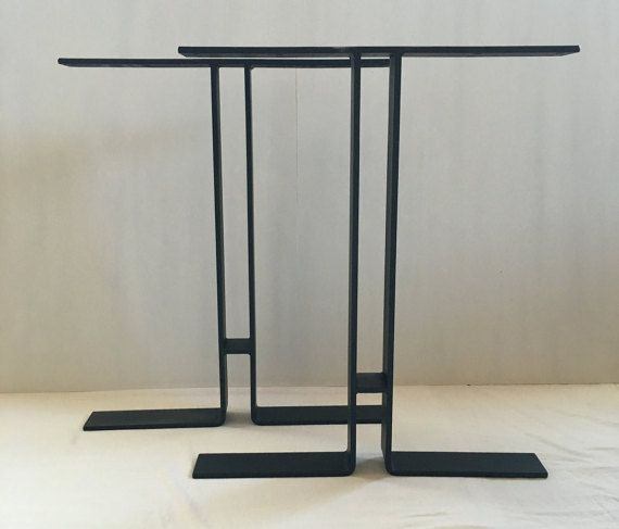 3x3 8 i table base flat black set of2 by sionsteel on etsy for Dining room tables etsy