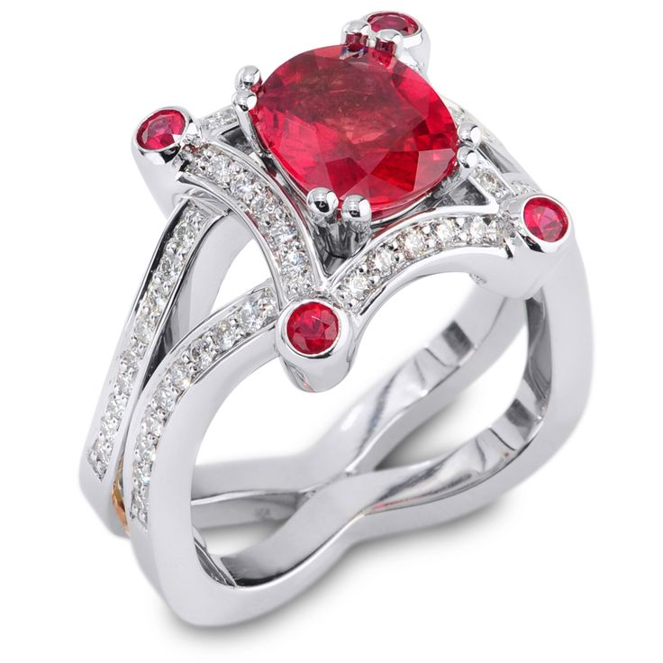 Evolve Collection - 1.67ct Orange Red Sapphire accented by Spinels and Diamonds set in Platinum.