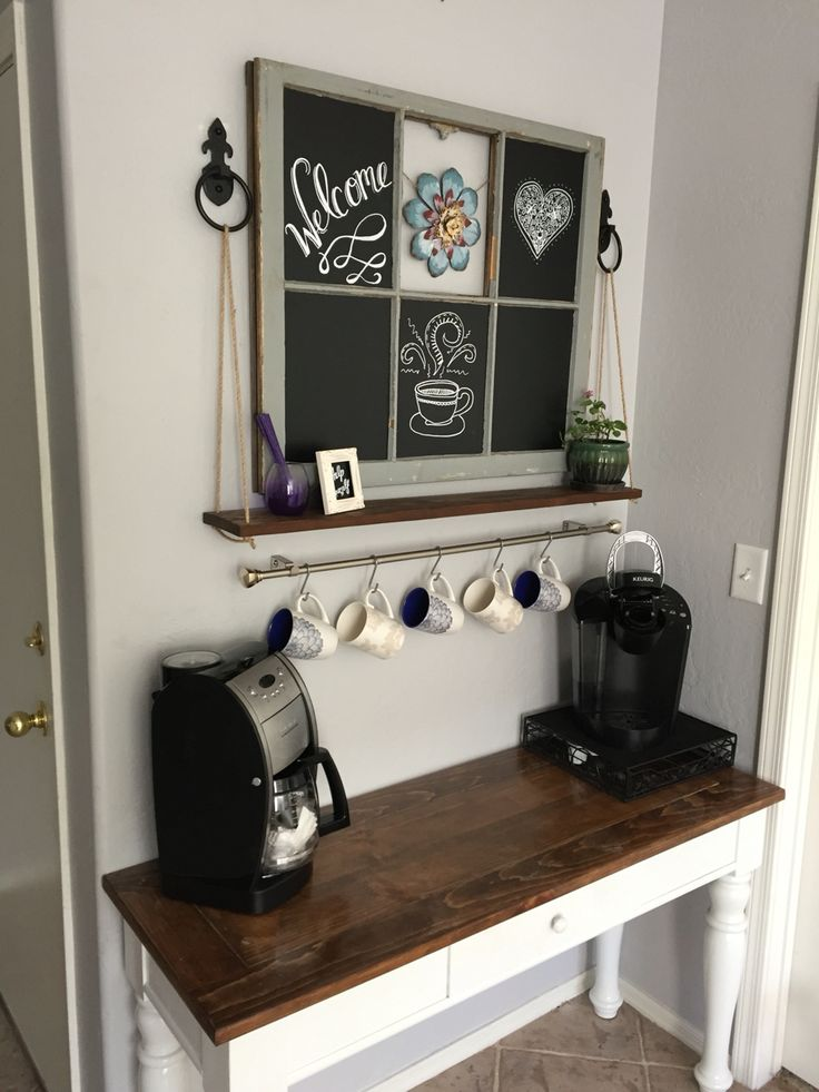 Coffee bar with vintage 6 pane chalkboard window pane and a rope shelf