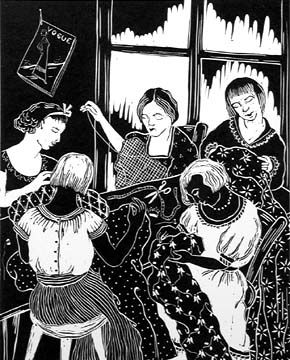 "Fritzi Brod (1900-1952)  ""In the Workshop"" ~ from the portfolio A Gift to Biro-Bidjan, 1937 ~ Woodcut. ~ Oakton Community College  ~  The design of the Workshop was inspired by Art Nouveau: the slanted heads, the delicate lines and the ornamental patterns. This design creates a contrast to the gloomy mood of the scene. Five women are crowded in a small shop, where a Vogue magazine hangs on the wall. These women sit quietly, concentrating on their sewing."
