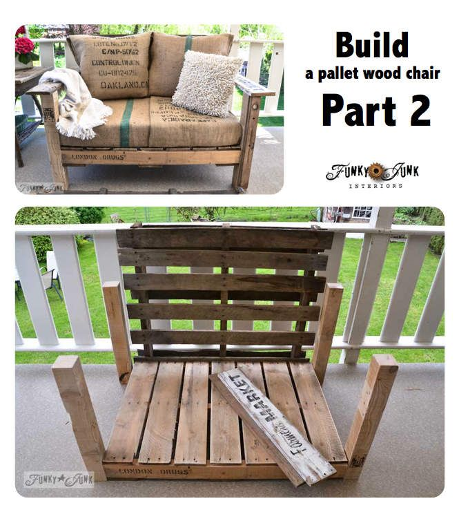 BUILD a super easy pallet wood chair in a couple hours! Part 2 via Funky Junk Interiors