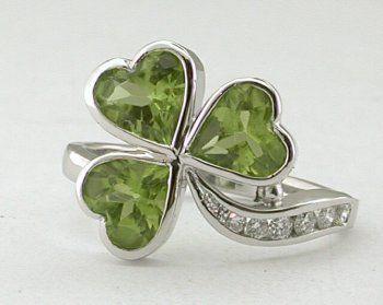 Platinum, Peridot and diamond shamrock ring.