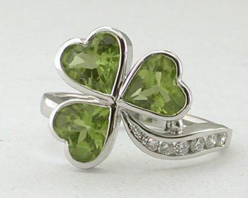 Platinum, Peridot and diamond shamrock ring. It goes with my birthday! Go St. Patrick's day!