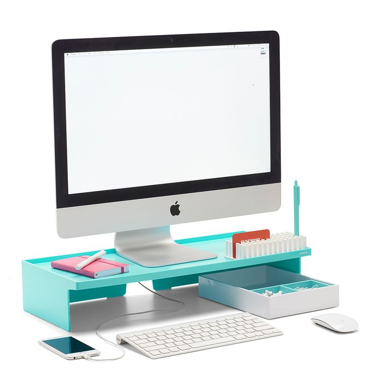 Poppin Aqua Monitor Riser | Modern Desk Accessories | Cool Office Supplies #workhappy