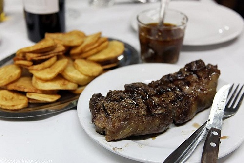 A typical steak dinner in Buenos Aires