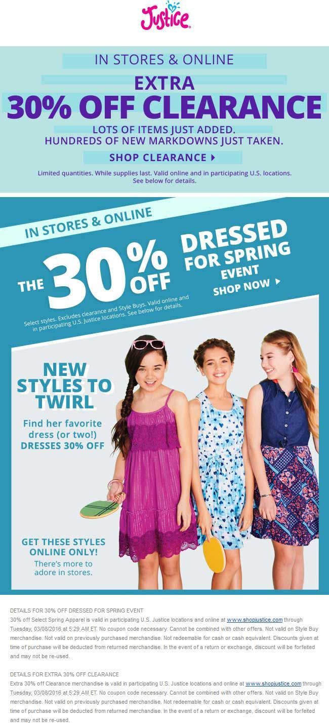 Pinned march 5th extra 30 off spring styles clearance at justice ditto