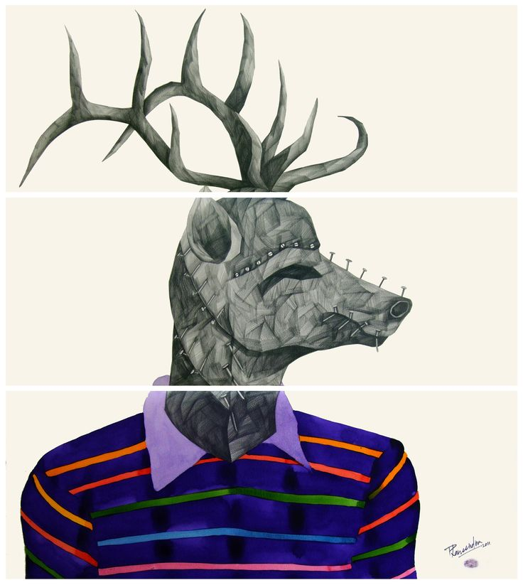 'E' for Elk, by Phaneendra Nath Chaturvedi Pencil & Water Color on Archival Paper,  30 X 33 inc., Work in 3 Units (each unit 11 X 30 inc.), 2011