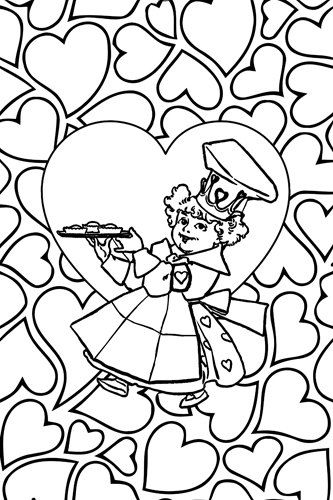 queen of hearts printable coloring page for adults and kids mother goose digital coloring nursery rhyme - Digital Coloring Book