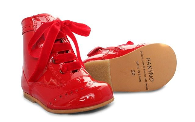 Girls Red Patent High Ankle Lace Boot with Side Zip