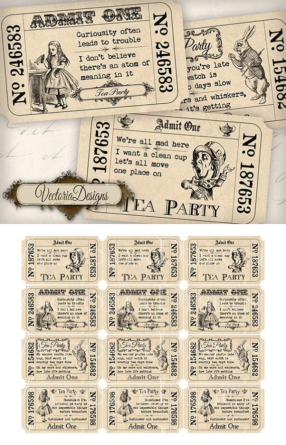 Alice in Wonderland Tea Party Tickets printable images instant download digital collage sheet VD0387