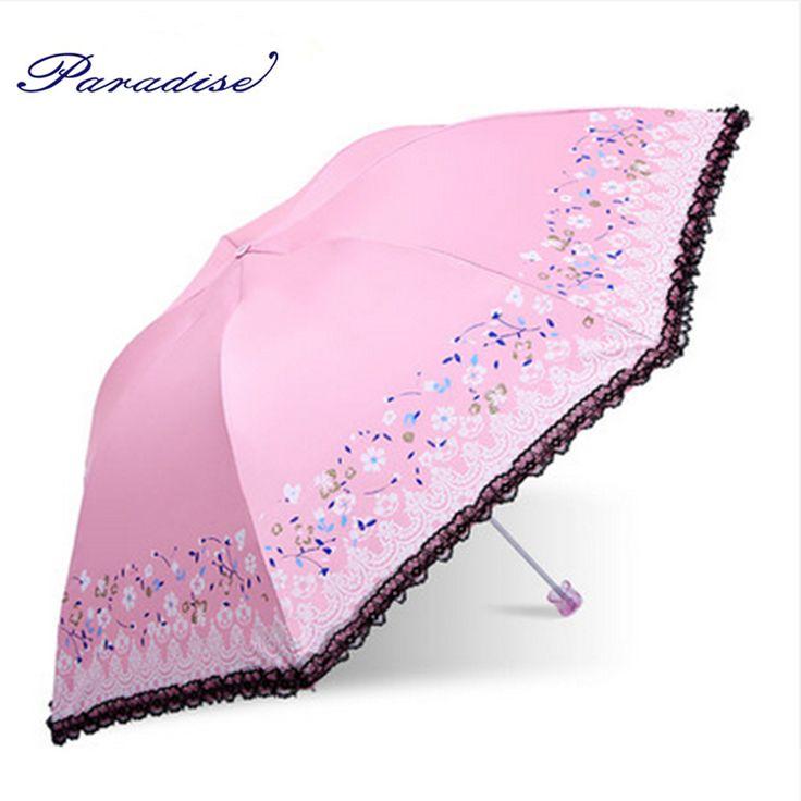 paradise 2017 new arrived woman three-folding umbrella Fashion Sunshaded umbrella  High Quality Windproof Strong Umbrellas #Affiliate