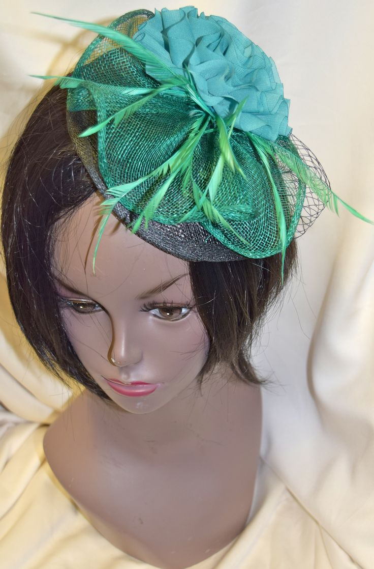 Green and Black Fancy Fascinator with Flower
