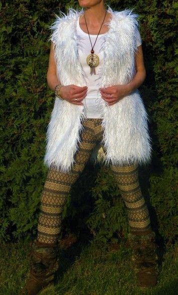 Fur Vests - rbboho.com - Luxurious long hair fur vest lama