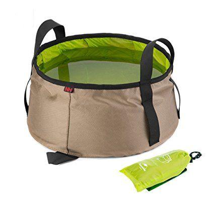 Ultra ligero portátil al aire libre plegable lavado de pies cuenca del baño bolsa de la colada del agua del cubo para Camping Viajar Senderismo (Verde)