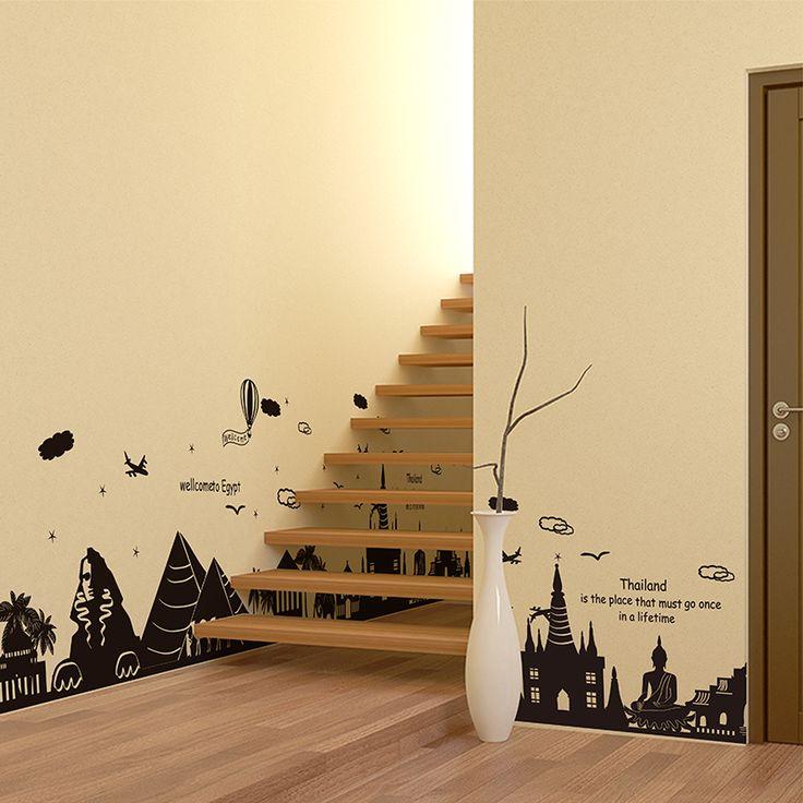 Городской наклейка стикер стены черный город пирамида таиланд большие наклейки для этаж лестница фрески наклейки гостиной дома украшения