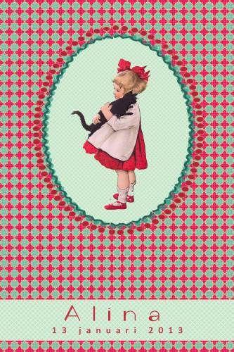 Geboortekaartje retro meisje - meisje met poes - Pimpelpluis  https://www.facebook.com/pages/Pimpelpluis/188675421305550?ref=hl (# vintage - retro - kindje - poes - lief - roze - dieren - origineel)