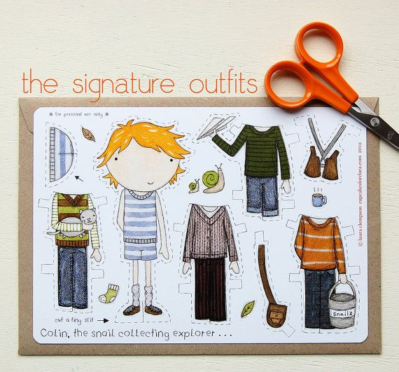 Colin Paper Doll Boy Dressup Doll The Signature by claraandmacy