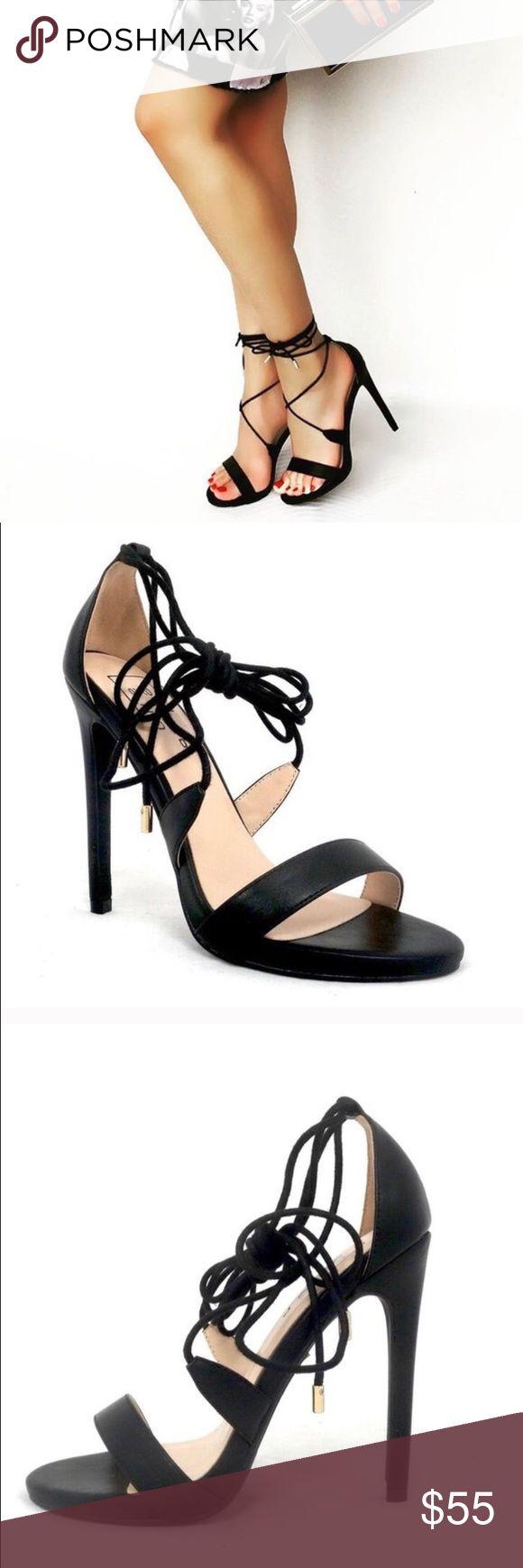 """Tamara - 5 Black Heels Faux Leather Black High Heel. Ties up around ankle. Heel height approx 4 3/4"""" Shoes Heels"""