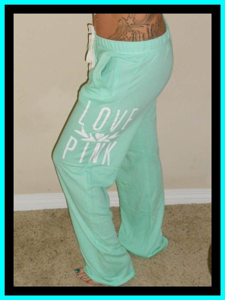 Victorias Secret Love Pink Lightweight Mint Green Boyfriend Lounge Sweatpants