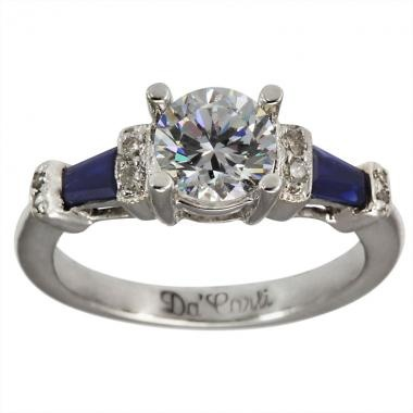 Brilliant Round Accent Diamonds With Baguette Cut Blue