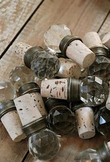 wine cork stoppers!  So cute!  I can sooo make these!  Use kitchen/bathroom knobs!