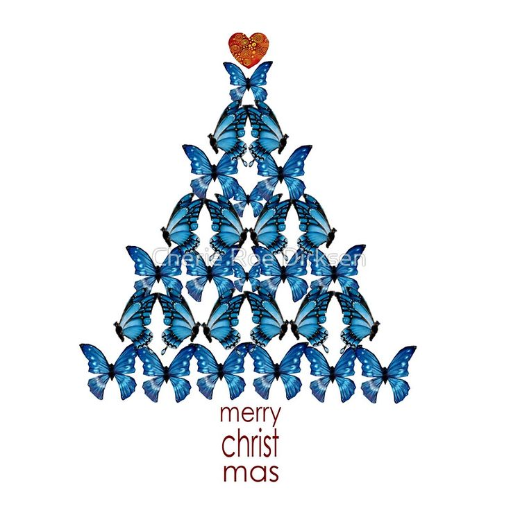 Blue Butterfly Christmas Tree Design available on greeting cards, postcards, t-shirts, bedding, iPhone cases, cushions, mugs and much more! #Christmas2015 #Christmas #Cards #butterfly