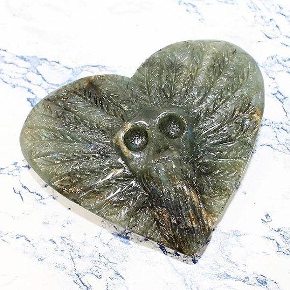 Labradorite Crystal Heart with Carved Skull Carved Crystal