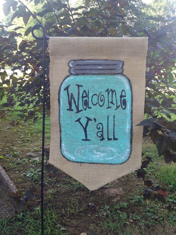 Burlap Garden Flag Blue Mason Jar Welcome Y'all