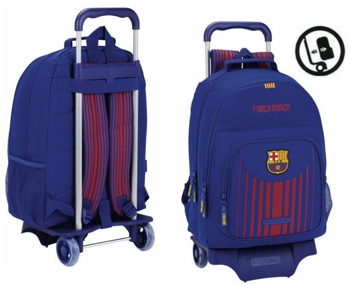 Cómoda y amplia mochila escolar con ruedas de su equipo favorito.