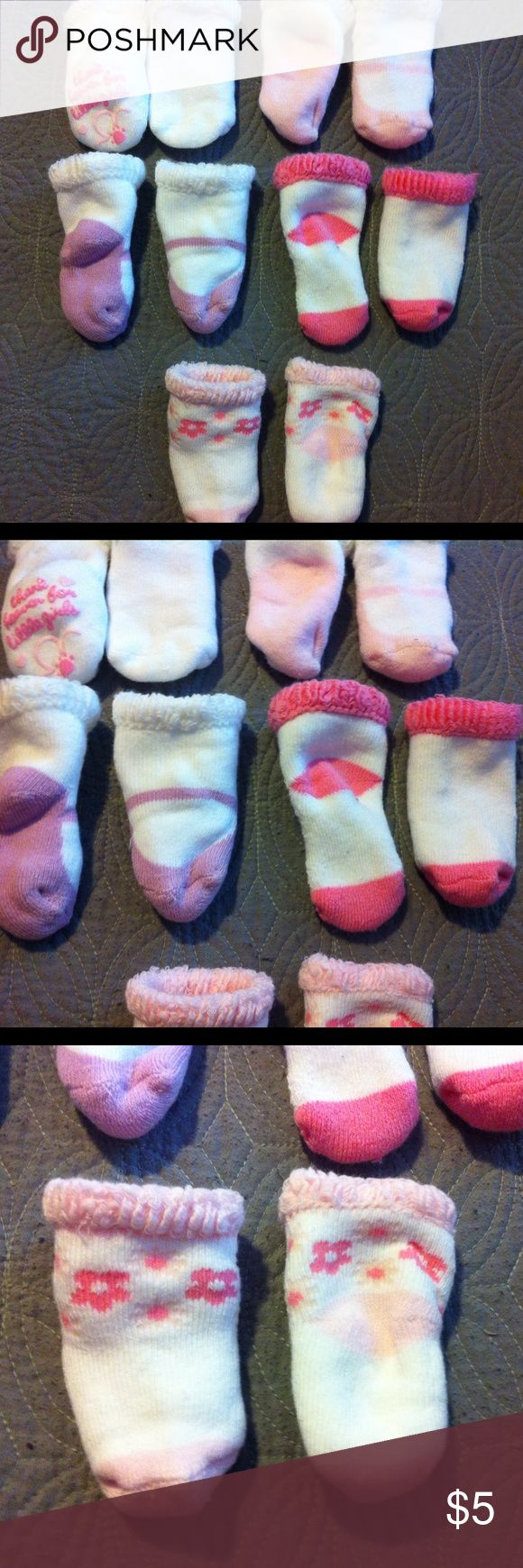 Newborn Girl Socks Baby girl socks. Super adorable and soft. Never have been used or worn. 5 pairs Accessories Socks & Tights