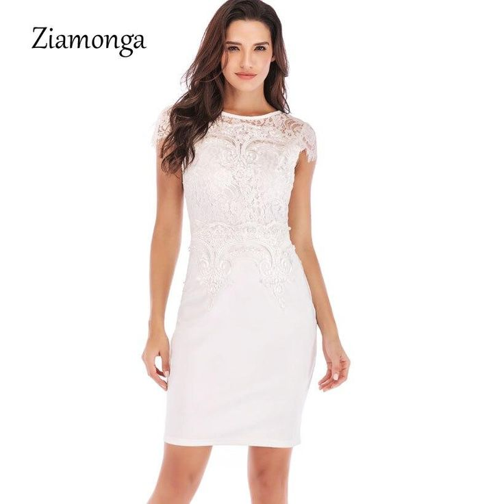 Women Business Office Work Embroidery Lace Dress Tight Beaded Short Sleeve Mini Dress Party Casual Bodycon Dresses White L 3