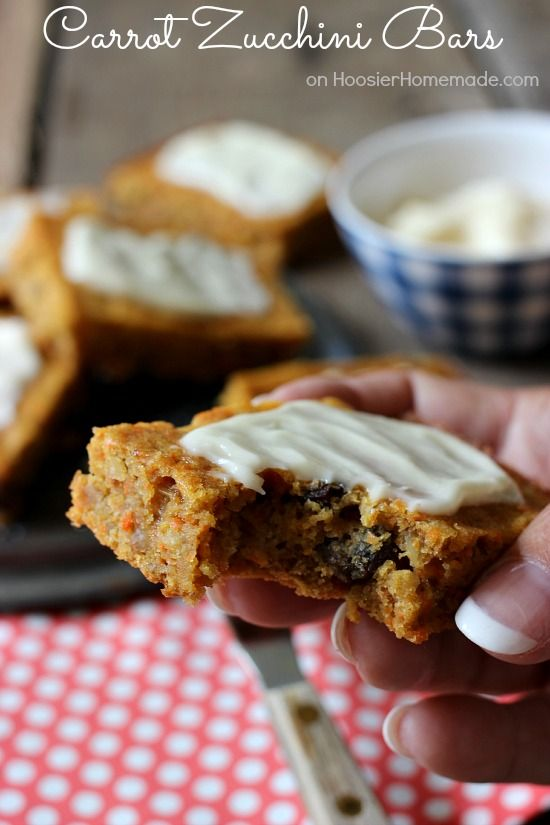 Carrot Zucchini Bars   Moist, easy to make bars that are packed with flavor   Recipe on HoosierHomemade.com