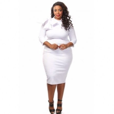 White Plus Size Bodycon Dresses