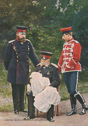 """Hurra 4 Kaiser"" , v.l.n.r. Friedrich III., Kronprinz Friedrich Wilhelm (Baby), Wilhelm I, Wilhelm II.   1888"