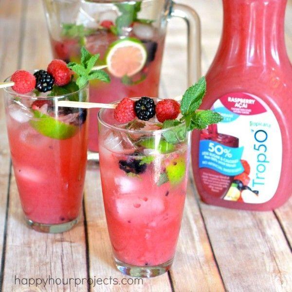 Raspberry Acai Mojitos at www.happyhourprojects.com #GirlsNightIn #SweepsEntry