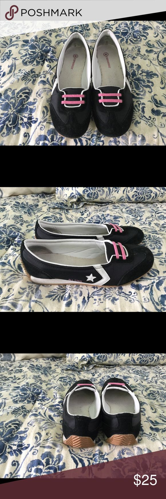 💯 Converse Shoes Authentic Converse Star FIICE Queen slip on. Black with pink accents. Upper is textile material with man made sole. Size 10 Converse Shoes Flats & Loafers