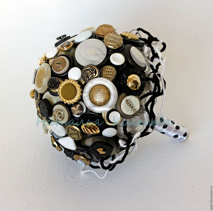 Купить Букет из пуговиц Черно-бело-золотой - черный, белый, золотой, букет из пуговиц