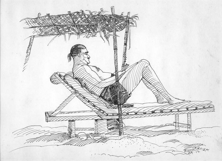 Sketch in pen on location-Man enjoying sun on Baga beach, Goa, India