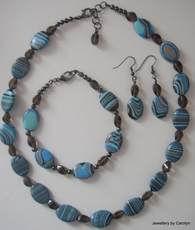 Howlite and Smokey Crystal Necklace, Bracelet and Earring Set £24.00