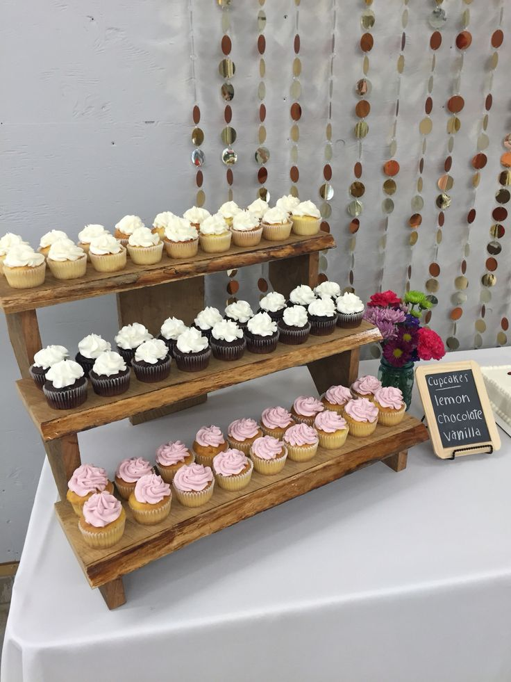 Rustic cupcake stair step display idea from my grad party!! Obsessed with this homemade stand!
