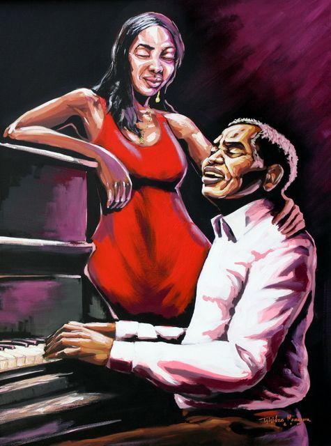 Red Velvet by Tshidzo Mangena. Acrylic on canvas. https://www.facebook.com/akwaabaafricanart
