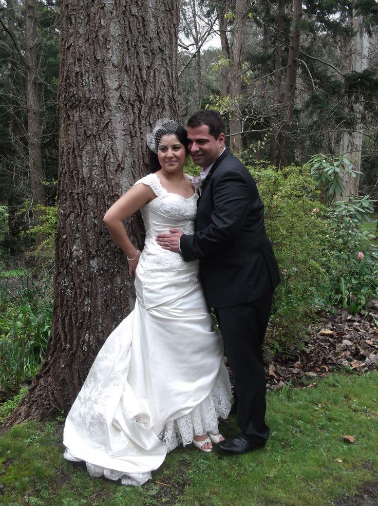 Octavio & Giovanna #chateauwyuna #wedding #bride #groom #mrandmrs #weddingreception #tree #smooch #train #outside