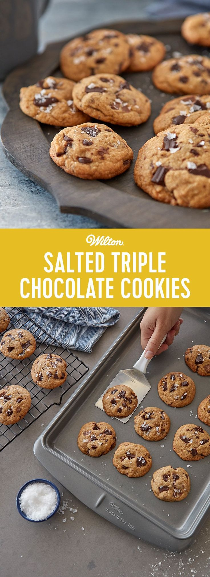 Salted Triple Chocolate Chunk Cookies Recipe - Chocolate lovers rejoice! These crunchy, yummy cookies are chock full of three types of chocolate—dark, semisweet, and milk—and take your chocolate obsession to new heights. A sprinkling of sea salt adds a bit of crunch and enhances the rich chocolaty flavor. Make these to share with friends...or not! This is a great recipe for beginner bakers. #chocolatechipcookies