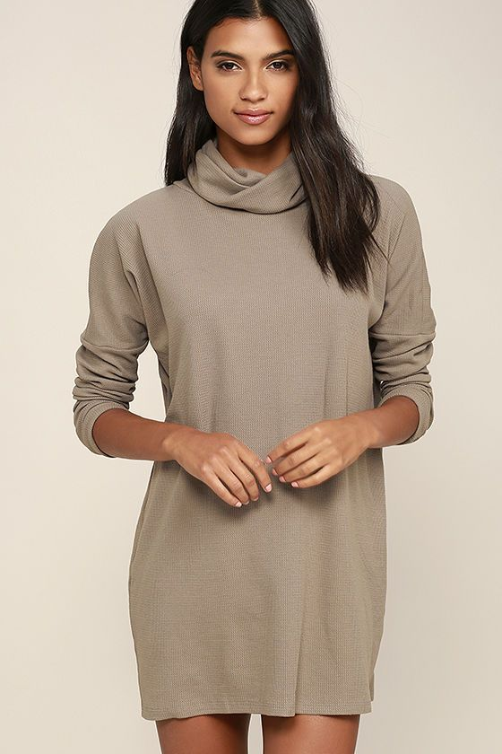 A day of full-fledged relaxation could be even better if spent in the Scheme of Things Taupe Long Sleeve Dress! Taupe knit fabric, with a cool waffle texture, shapes a folding turtleneck. Wide-cut bodice is finished with tapered long sleeves and ends at a relaxed-fitting hem.