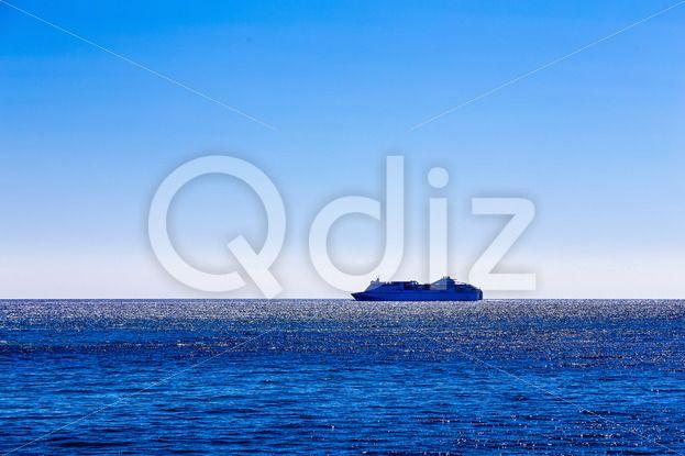 Qdiz Stock Photos   Cruise ship or liner in open ocean,  #Atlantic #blue #boat #cruise #international #liner #marine #moving #nautical #ocean #offshore #open #sea #ship #shipping #sky #transport #transportation #Travel #water #waterline