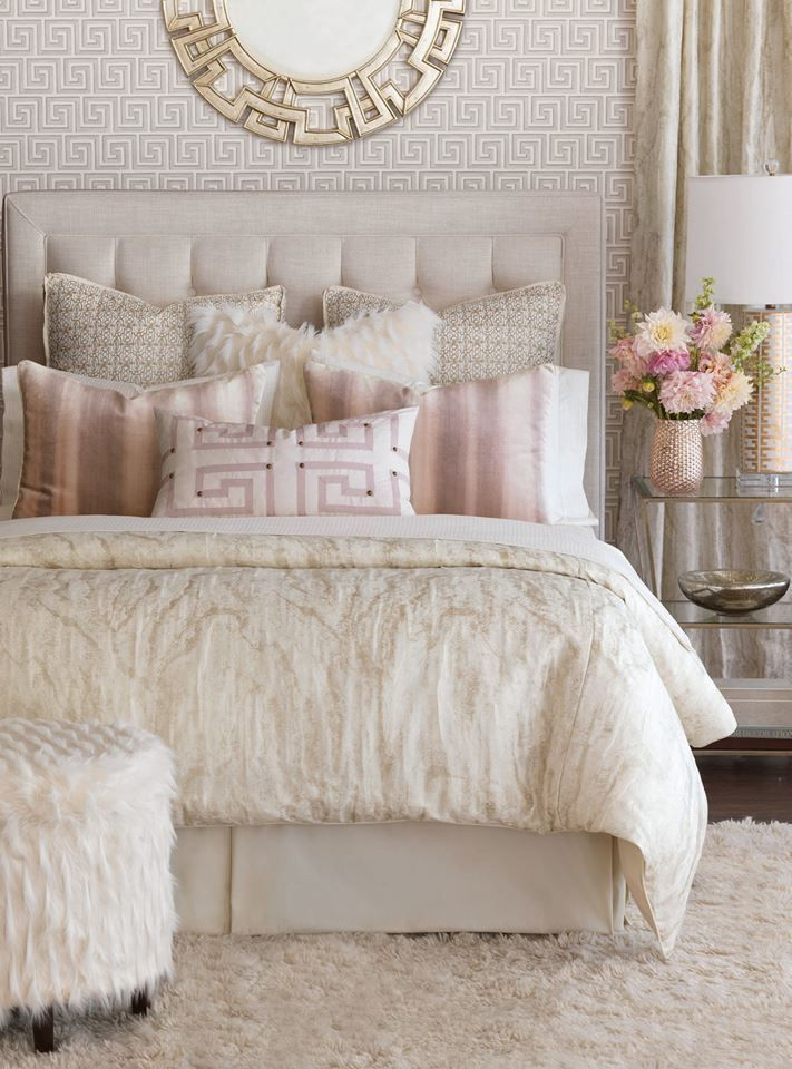 The Greek influence in this blush and white bedroom is stunning. Definitely a great bedroom decor idea or theme.