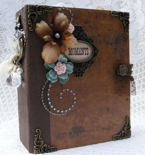 elite4u toni vintage style premade scrapbook album prima flower paper. Black Bedroom Furniture Sets. Home Design Ideas