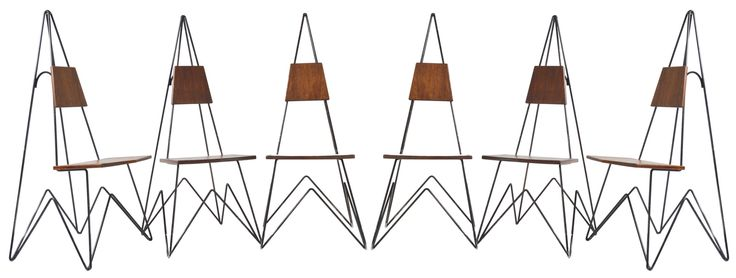 Rare Set of Six Eiffel Tower Shaped Dining Chairs // 1960s - Wall - Greedfineart.com